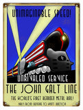 Vintage John Galt Line Railroad Sign 9x12