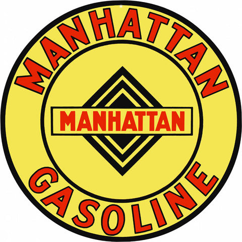 Manhattan Gasoline Sign 14 Round