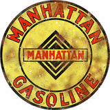 Vintage Manhattan Gasoline Sign 14 Round
