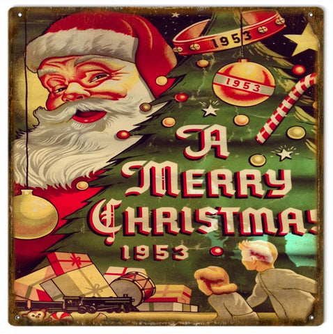 Vintage Merry Christmas Sign 12x12