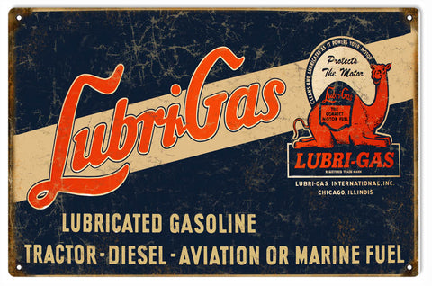 Vintage Lubri Gas Gasoline Sign