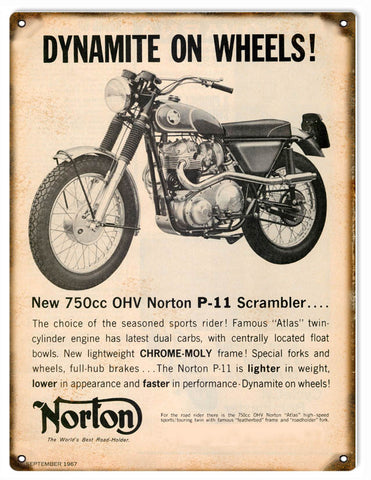 Vintage Norton Motorcycle Sign 9x12
