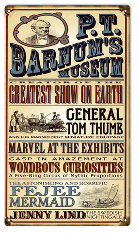 Vintage PT Barnums Museum Circus Sign 8x14