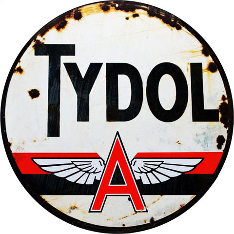 Vintage Tydol Motor Oil Sign 14 Round