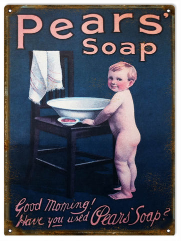 Vintage Pears Soap Sign 9x12