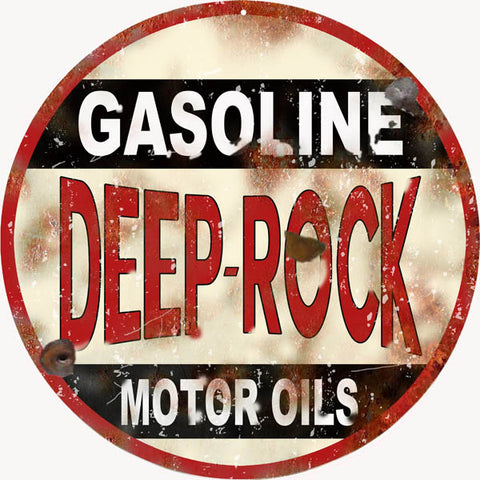 Vintage Deep Rock Gasoline Sign 14 Round