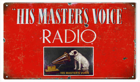 Vintage His Masters Voice Sign 8x14