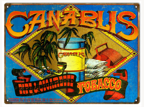 Vintage Canablis Tobacco Sign 9x12