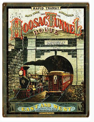 Vintage Hoosac Railroad Sign 9x12
