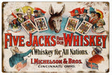 Vintage Five Jacks Whiskey Sign