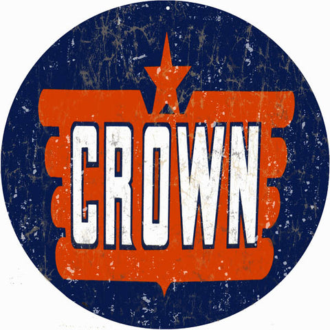 Vintage Crown Motor Oil Sign 14 Round