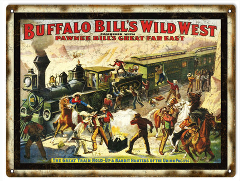 Vintage Buffalo Bills Wild West Sign 9x12