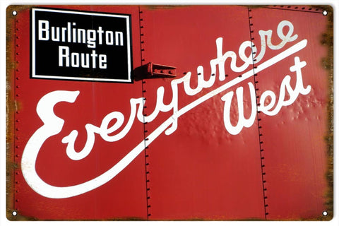 Vintage Burlington Route Railroad Sign