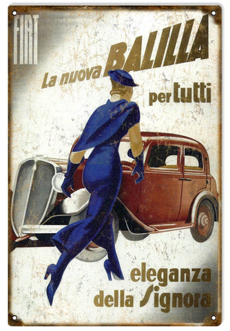 Vintage Fiat Automobile Sign