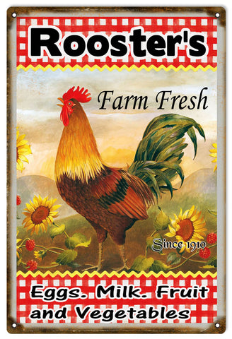 Vintage Roosters Farm Fresh Country Sign