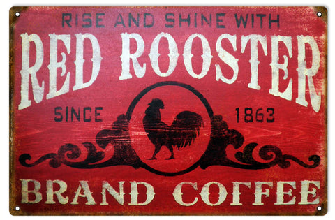 Vintage Red Rooster Coffee Sign