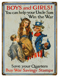 Vintage Uncle Sam War Saving Stamps Sign 9x12