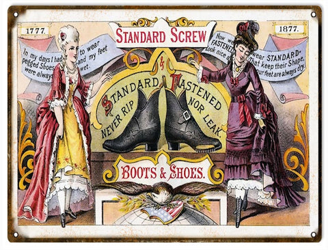 Vintage Boots And Shoes Sign 9x12