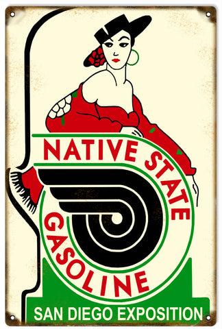 Vintage Native State Gasoline Sign