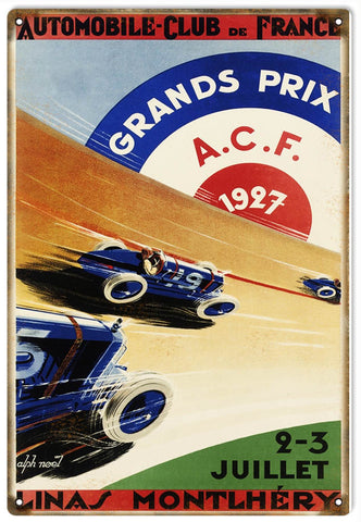 Vintage ACF Grands Prix Automobile Sign