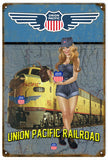Vintage Union Pacific Railroad Pin Up Girl Sign