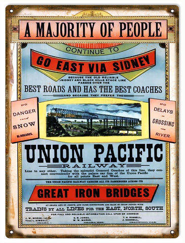 Vintage Union Pacific Railway Sign 9x12