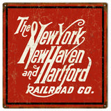Vintage New York New Haven Hartford Railroad Sign 12x12