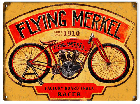 Vintage Flying Merkel Motorcycle Sign 9x12