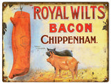 Vintage Royal Wilts Bacon Sign 9x12