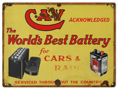 Vintage CAV Battery Sign 9x12