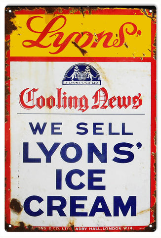 Vintage Lyons Ice Cream Sign
