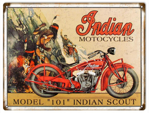 Vintage 101 Indian Scout Motorcycle Sign 9x12