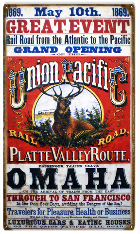 Vintage Union Pacific Railroad Sign 8x14