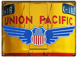 Vintage Union Pacific Railroad Sign 9x12