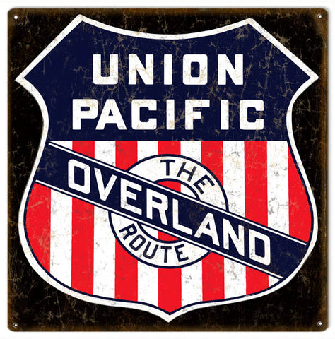 Vintage Union Pacific Overland Railroad Sign 12x12