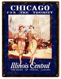 Vintage Illinois Central Railroad Sign 9x12