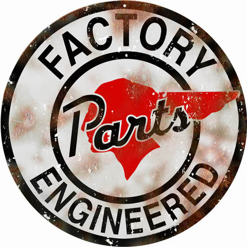 Vintage Factory Parts Engineer Sign 14 Round