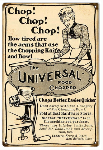 Vintage Universal Food Chopper Sign