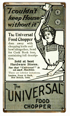 Vintage Universal Food Chopper Sign 8x14