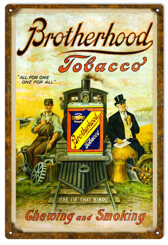 Vintage Brotherhood Tobacco Sign