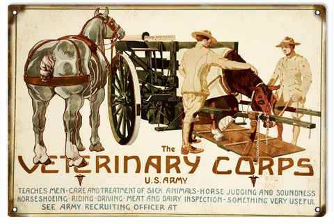 Vintage US Army Veterinary Corp Sign