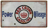 Vintage Red Crown Gasoline Sign 8x14