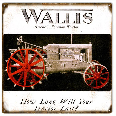 Vintage Wallis Tractor Sign 12x12