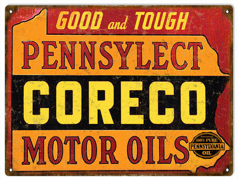 Vintage Coreco Motor Oil Sign 9x12