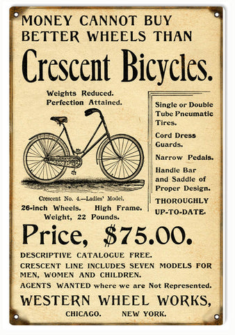 Vintage Crescent Bicycle Sign