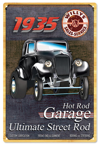 Vintage 1935 Willys Hot Rod Garage Sign