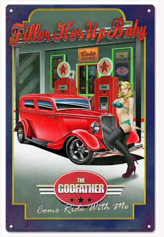 Vintage The Godfather Hot Rod Sign