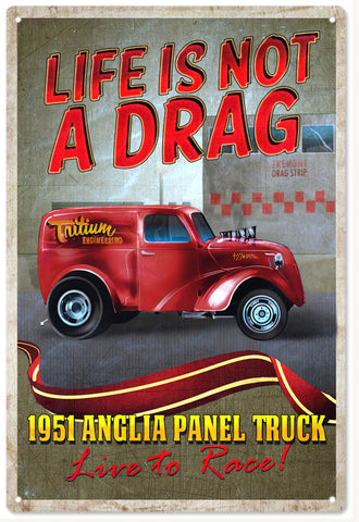 Red Vintage 1951 Anglia Panel Truck Sign