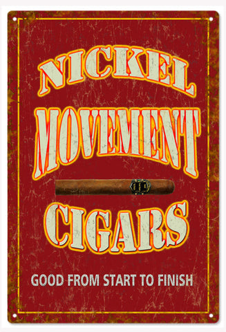 Vintage Nickel Movement Cigars Sign