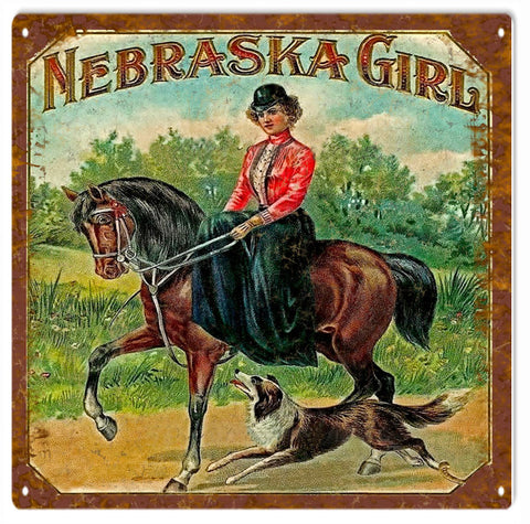 Nebraska Girl Vintage look Cigar sign 12x12